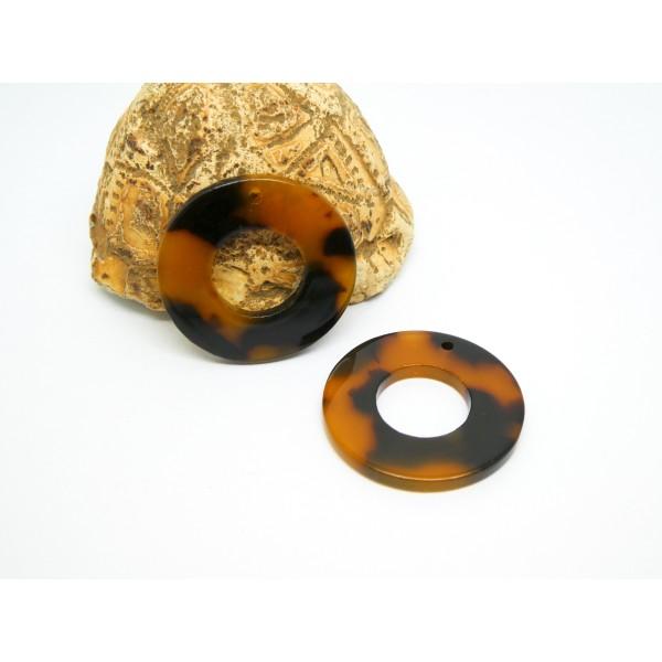 2 Pendentifs ronds 26mm marron / noir acétate de cellulose - Photo n°1
