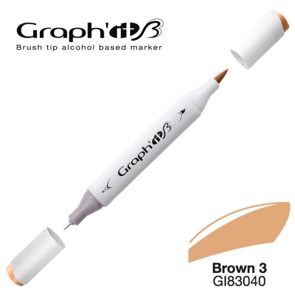 Graph'it brush marqueur à alcool 3040 - Basic brown 3 - Photo n°1