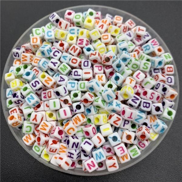 100 Perle Alphabet Blanche Cube 5mm Lettre Aléatoire Ecriture Mixte - Photo n°2