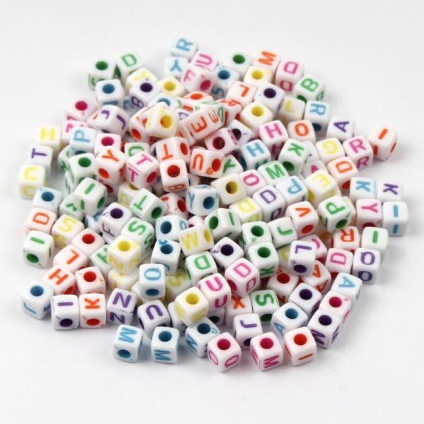 100 Perle Alphabet Blanche Cube 5mm Lettre Aléatoire Ecriture Mixte - Photo n°1