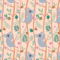 Tissu Toile Coton Dashwood - Our Planet Koala Orange pastel - Vendu par 10 cm
