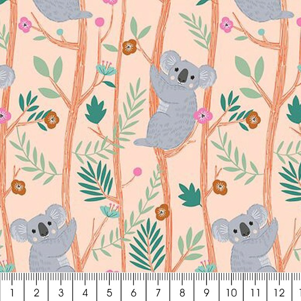 Tissu Toile Coton Dashwood - Our Planet Koala Orange pastel - Vendu par 10 cm - Photo n°2