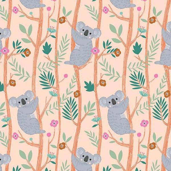 Tissu Toile Coton Dashwood - Our Planet Koala Orange pastel - Vendu par 10 cm - Photo n°1