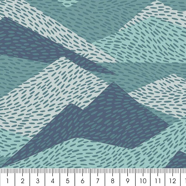 Tissu Toile Coton Dashwood Elements - Montagne - Vendu par 10 cm - Photo n°2