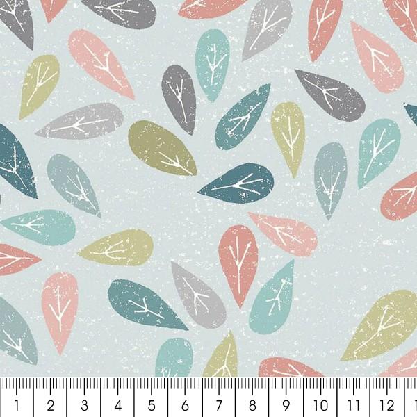 Tissu Toile Coton Dashwood Elements - Feuilles - Vendu par 10 cm - Photo n°2