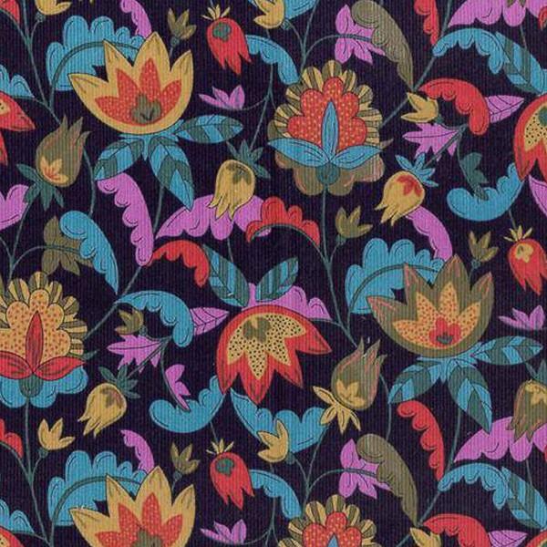Tissu Velours milleraies Dashwood - Kaleidoscope Navy/Bleu Canard  - Vendu par 10 cm - Photo n°1