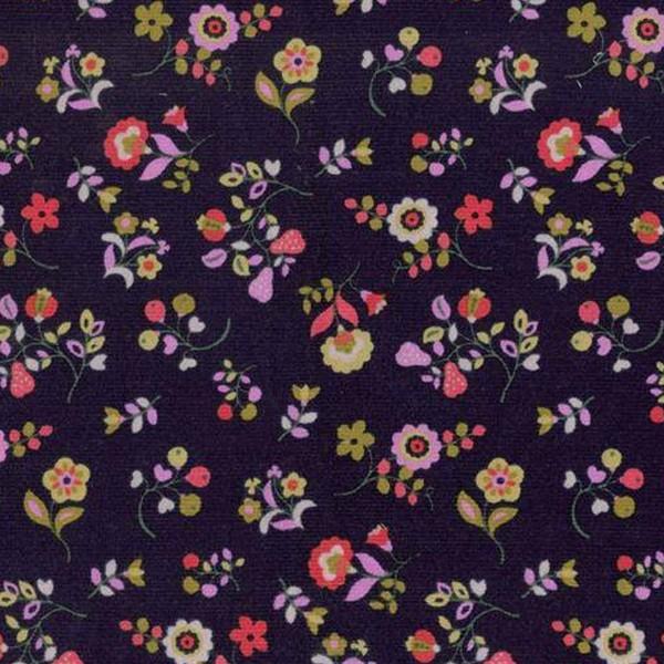 Tissu Velours milleraies Dashwood - Kaleidoscope Navy fleuri - Vendu par 10 cm - Photo n°1