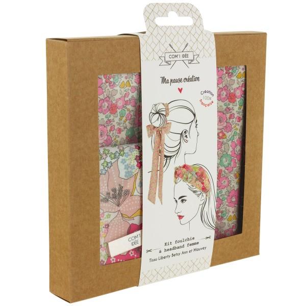 Kit Couture Headband et Foulchie - Tissu Liberty Betsy Ann et Mauvey - 2 pcs - Photo n°4