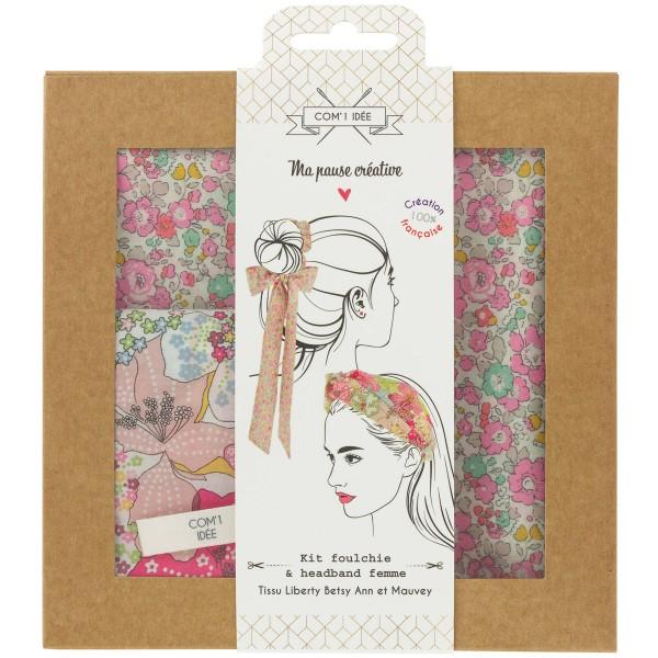 Kit Couture Headband et Foulchie - Tissu Liberty Betsy Ann et Mauvey - 2 pcs - Photo n°1