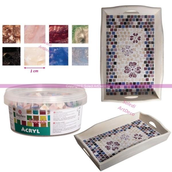 Lot de 300g de mosaïques en Plexi acrylique marbrée multicolore, 1cm, pr env. 35cm² - Photo n°1