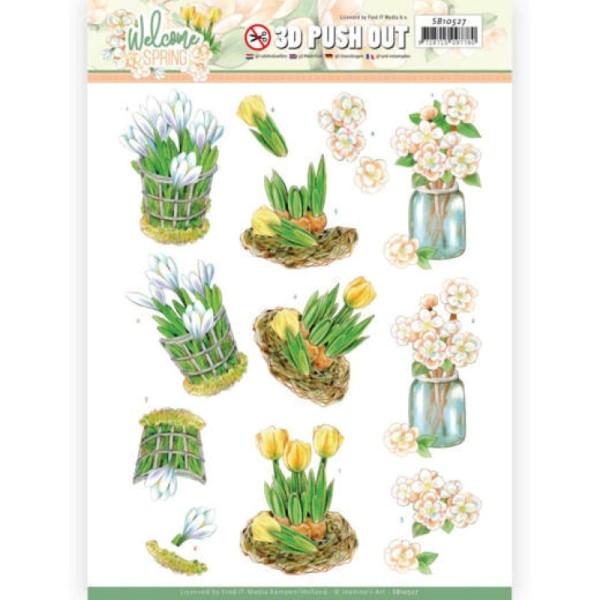 Carte 3D prédéc. - SB10527 - Welcome spring - Tulipes jaunes - Photo n°1