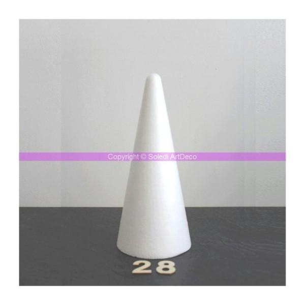 Lot de 5 cônes en polystyrène de 28 cm de haut, diamètre de base 12 cm, densit&e - Photo n°1