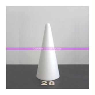 Lot de 5 cônes en polystyrène de 28 cm de haut, diamètre de base 12 cm, densit&e