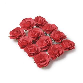 Lot de 12 Têtes de Rose Corail, Bouton de rose de 35 mm à piquer