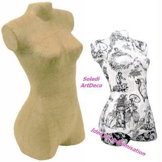 Buste de femme en papier mâché, formes féminines détaillées, 33 x