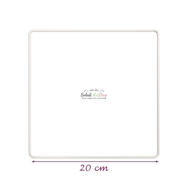 Carré métallique blanc 20 x 20 cm pour abat-jour, Epoxy blanc Attrape rêves - Photo n°1