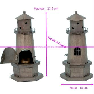 Bougeoir Phare en métal zinc pour bougie chauffe plat, Hauteur 23,5cm