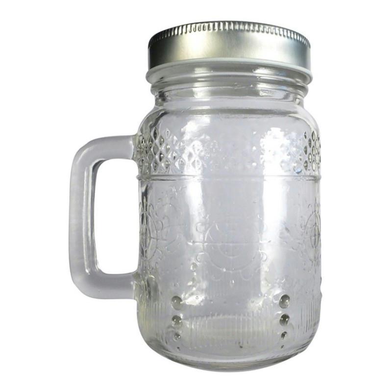 mug en verre avec anse 8x13cm choppe couvercle m tal argent mason jar 37 cl animaux d. Black Bedroom Furniture Sets. Home Design Ideas
