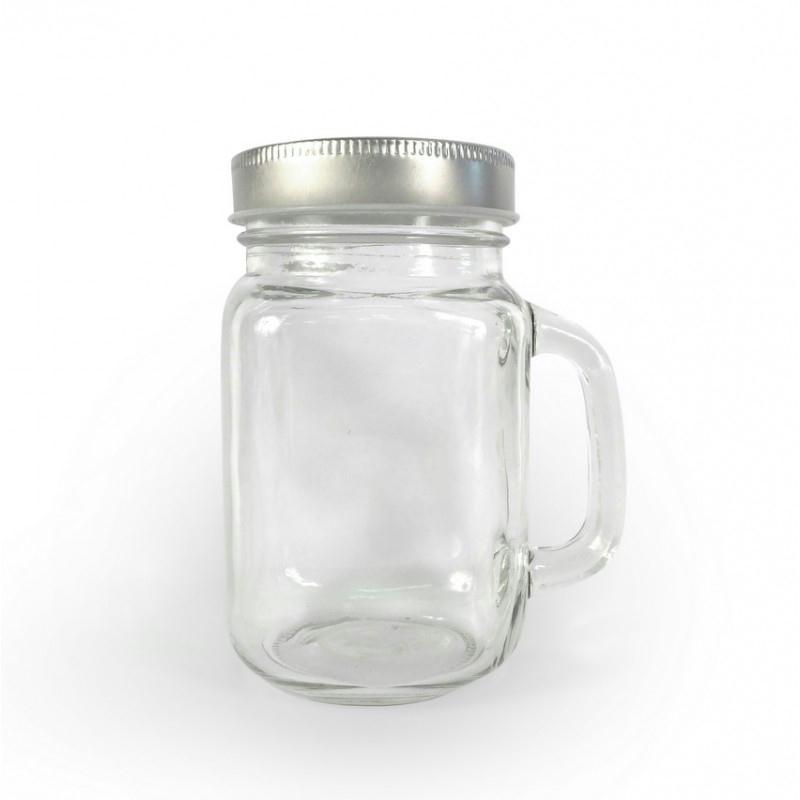 mug en verre lisse avec anse 8x13cm choppe couvercle. Black Bedroom Furniture Sets. Home Design Ideas