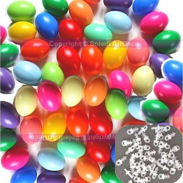 Gros lot de de 50 Oeufs en plastique de Pâques, Couleurs assorties, 6,5 cm de haut et 50 Croch - Photo n°1