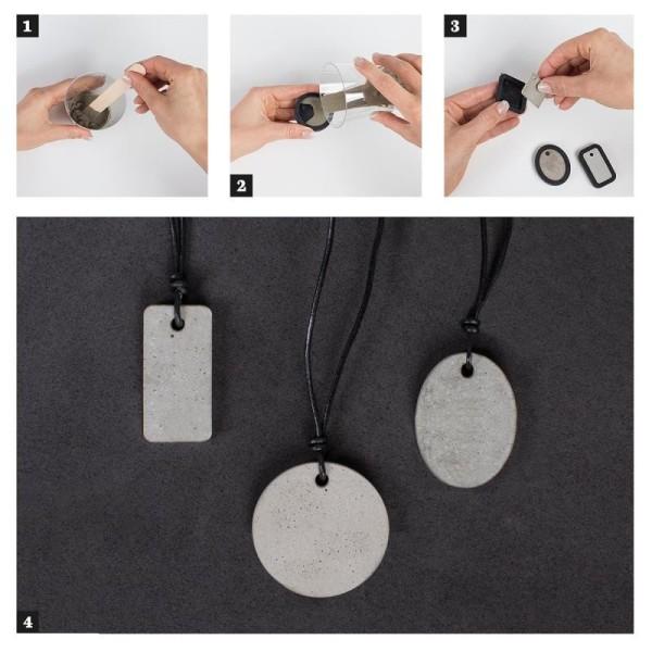 Moule à bijoux ovale pour béton, Pendentif en caoutchouc flexible, 3,9 cm, remplissage 7 mm - Photo n°2