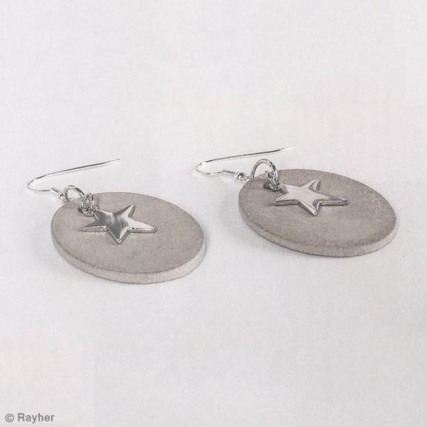 Moule à bijoux ovale pour béton, Pendentif en caoutchouc flexible, 3,9 cm, remplissage 7 mm - Photo n°3