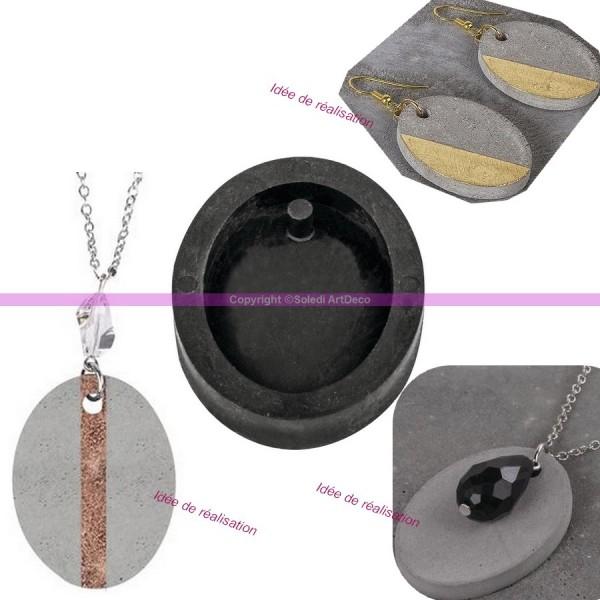 Moule à bijoux ovale pour béton, Pendentif en caoutchouc flexible, 3,9 cm, remplissage 7 mm - Photo n°4