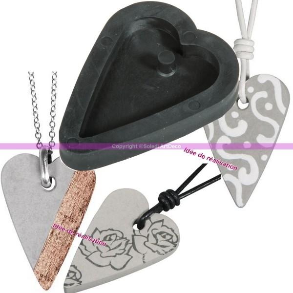 Moule à bijoux coeur pour béton, Pendentif en caoutchouc flexible, 3,9 cm, remplissage 7 mm - Photo n°2
