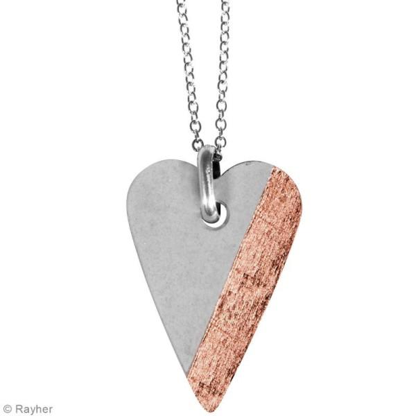 Moule à bijoux coeur pour béton, Pendentif en caoutchouc flexible, 3,9 cm, remplissage 7 mm - Photo n°4