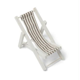 Petite Chaise longue décorative en bois blanc, Transat décoratif tissu à rayure