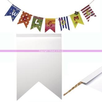 14 fanions en papier rigide blanc Zig-Zag 12x17,5cm, à décorer, à peindre, pour