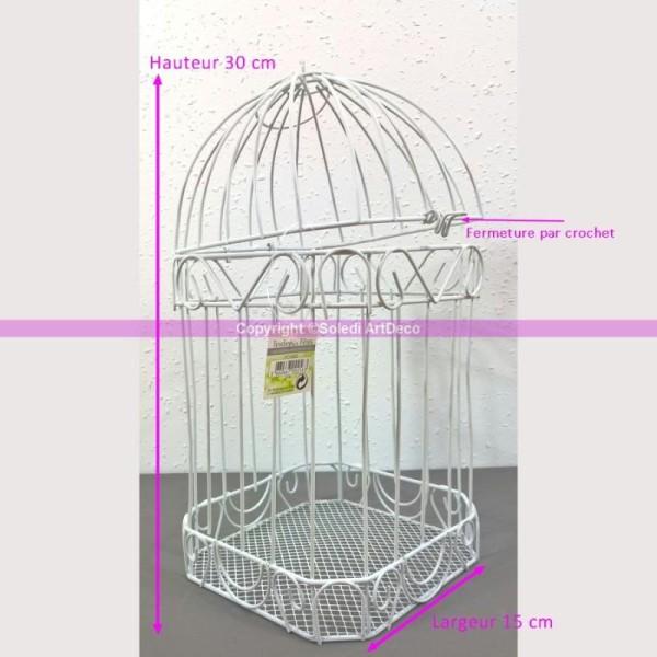Urne De Mariage Cage à Oiseaux, Volière En Métal Blanc, 30 X 15 Cm