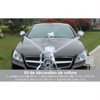 Kit de décoration Mariage festif BLANC 5 Pièces, pr Voiture de Mariés, Tulle, N