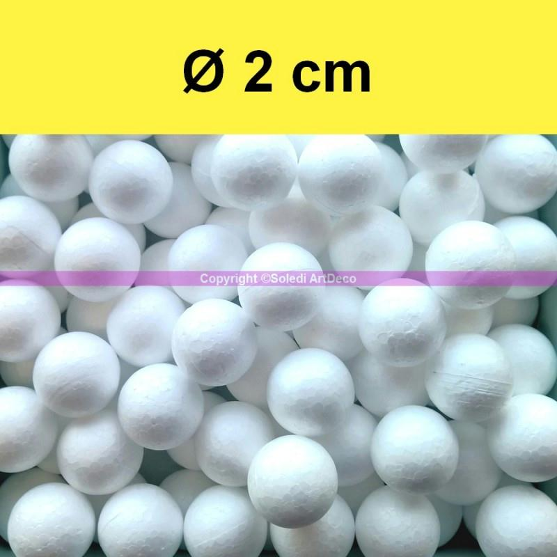 lot de 100 petites boules polystyr ne diam tre 2 cm 20 mm balles styro blanc boules. Black Bedroom Furniture Sets. Home Design Ideas