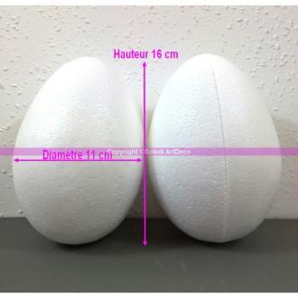 Lot de 2 Oeufs polystyrène de 16 cm de haut, Séparables, Styropor blanc densité supérieure