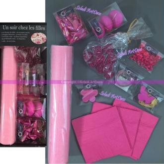 Box de décoration de table festive Rose env. 100 pièces, Un soir chez les Filles