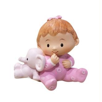 Bébé Fillette avec doudou éléphant rose, 5,5 x 5,2 x 3,6 cm, Petite figu