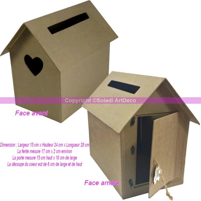 boite aux lettres cabane nichoir en carton urne avec coeur d coup 15x24x28cm boite en carton. Black Bedroom Furniture Sets. Home Design Ideas