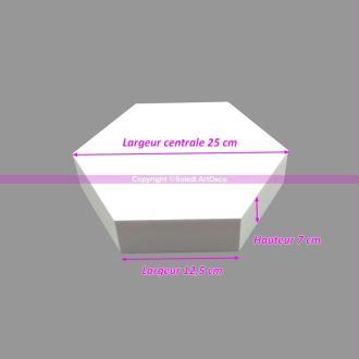 Socle plat Hexagonal 2D Polystyrène, Largeur 25cm, 6 cotés à 12,5cm, épa
