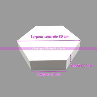Socle plat Hexagonal 2D Polystyrène, Largeur 30cm, 6 cotés à 15cm, épais