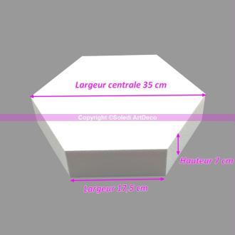 Socle plat Hexagonal 2D Polystyrène, Largeur 35cm, 6 cotés à 17,5cm, épa