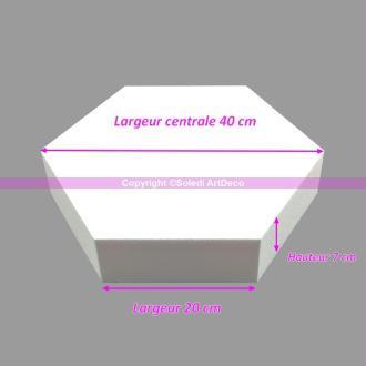 Socle plat Hexagonal 2D Polystyrène, Largeur 40cm, 6 cotés à 20cm, épais