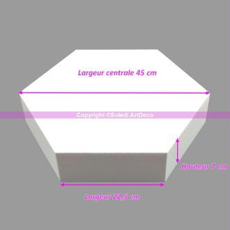 Socle plat Hexagonal 2D Polystyrène, Largeur 45cm, 6 cotés à 22,5cm, épa
