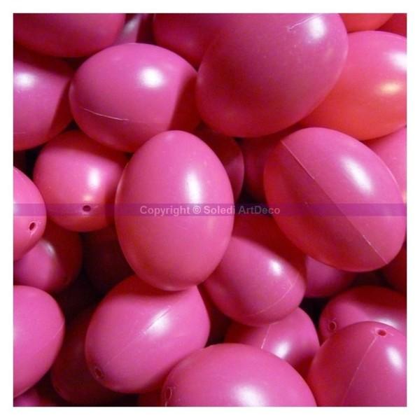 Gros Lot de 25 Oeufs en plastique Rose vif brillant, hauteur 6cm, pour déco de Pâques - Photo n°1