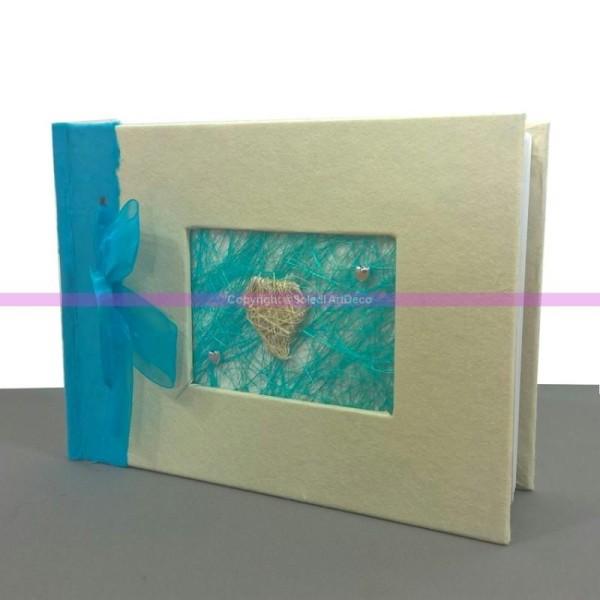 Livre d'Or, Album Photo de Mariage, Décor Turquoise en Raphia, Satin, Murier et Coeur, 21x15 cm - Photo n°1