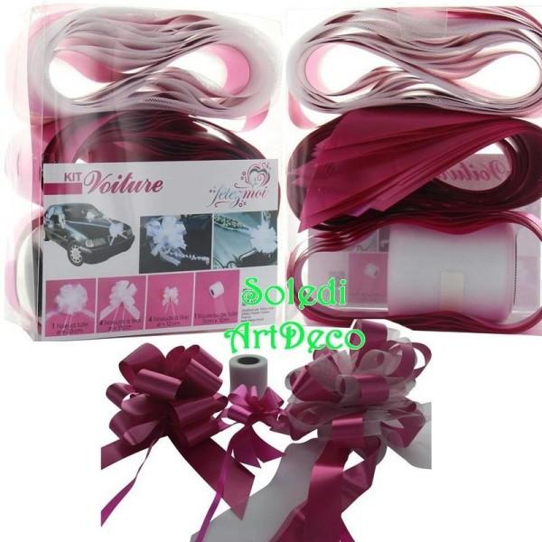 Kit de décoration Mariage festif Rose Fuchsia, 10 Pièces, pr Voiture de Mariés, Tulle, Noeuds - Photo n°1