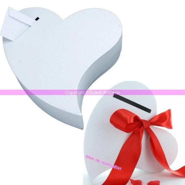 Urne de mariage, Tirelire Coeur allongé blanc carton kraft gaufré, 32x30x8,5cm - Photo n°1