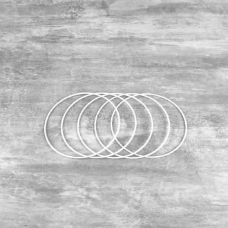 Lot de 5 Cercles métalliques blanc diamètre 12 cm pour abat-jour, Anneaux epoxy Attrap