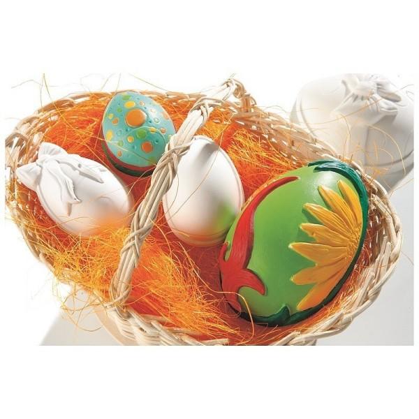 Moule thermoformé 5 Oeufs de Pâques de 6-10cm, pour plâtre, chocolat, à remplir et décorer - Photo n°2