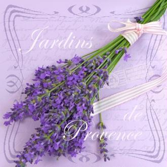 Lot de 20 Serviettes en papier Jardins de Provence, Bouquet de lavande sur fond mauve, 33 x 33 cm
